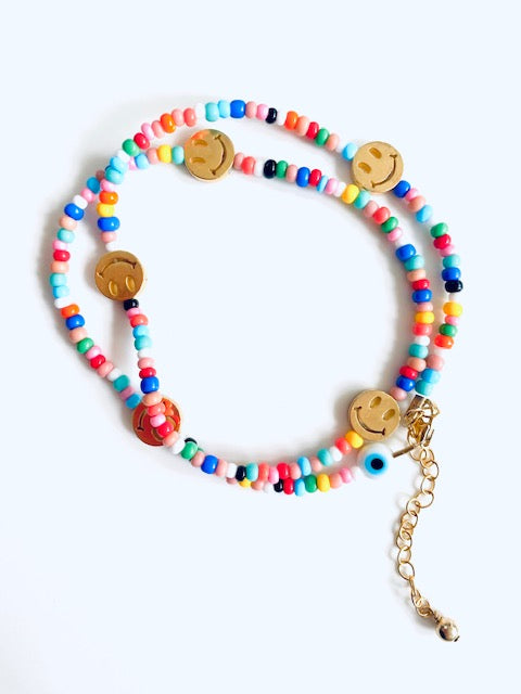 Disco Dip Beads Necklace with 5 Pendants
