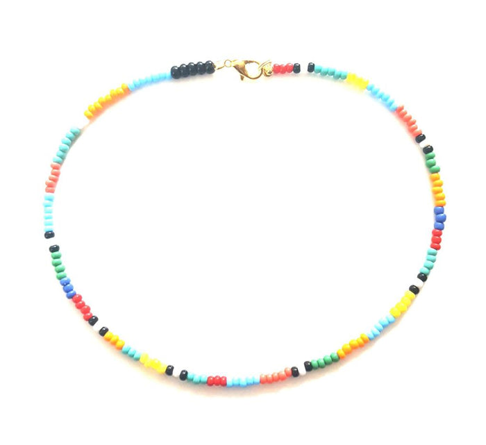 Adjustable multi beads necklace