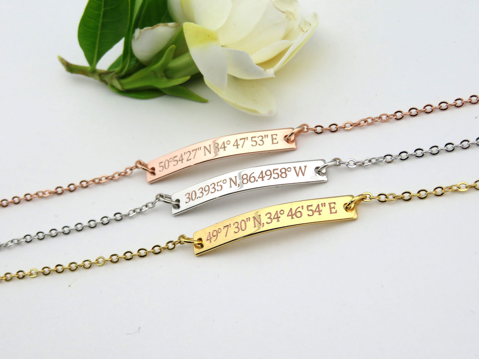 special pin longitude personalized bracelet gps location slim jewelry leather custom latitude coordinate
