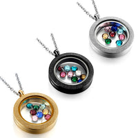 Round 25mm Frosted Floating Charms Locket W/ Charms