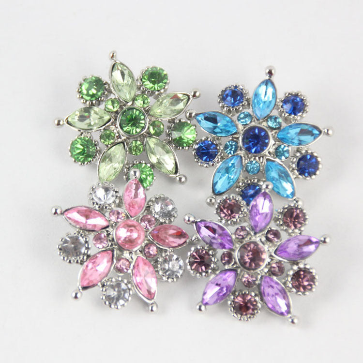 30pc } Mix Colors Rhinestone Button Fits 18mm Snap Accessories 30pcs Lot