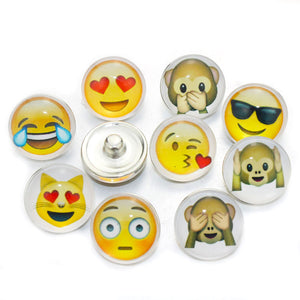 Mix Emojis Buttons Fits 18mm Snaps Accessories 10pcs/lot