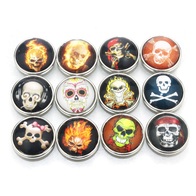 Mix Skull Glass Buttons Fits 18mm Snap Accessories 10 PCS/lot
