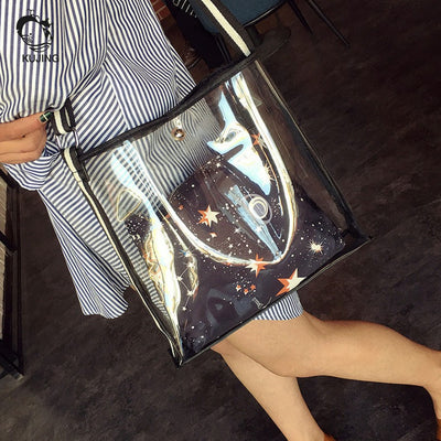 Transparent Shoulder Beach Bag Casual