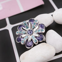 Silver Flower Star Crystal Button 18mm