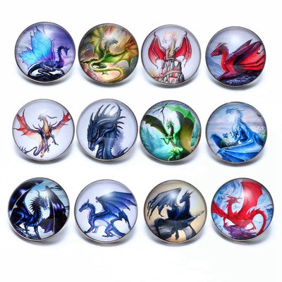 12pcs/lot Dragon Themes Glass Charms 18mm Snap Button Jewelry FREE SHIPPING