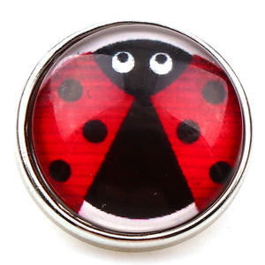 Mixed Ladybug Glass Metal Snap buttons 18mm/12PCS.Lot
