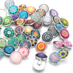 Mixed Design Exotic Glass Snap Button 12mm 18mm 20mm 10pcs/lot