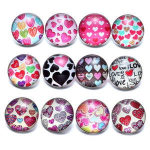 Cute Love Hearts Button Fits 18mm Snap Accessories 12pcs/lot