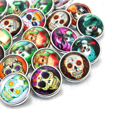 Art Skull Snap on Buttons 18mm 10 pcs/lot Mixed Colors