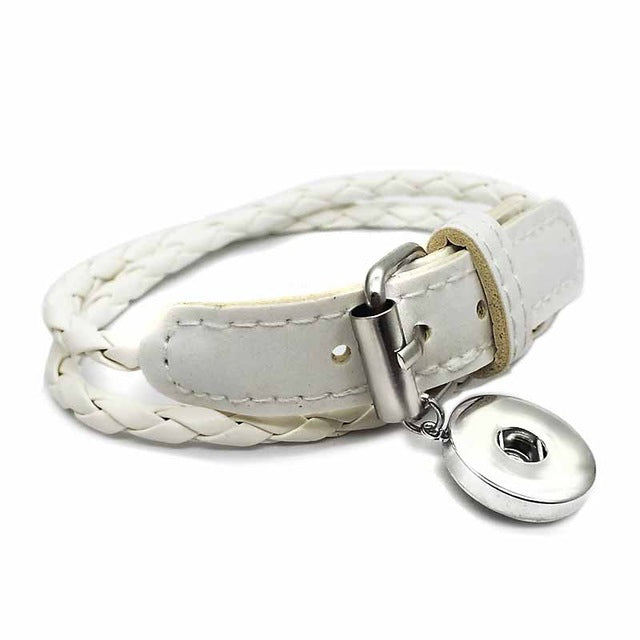 Leather Handmade Stacker Bracelet Snap Fits 18mm Button 50cm