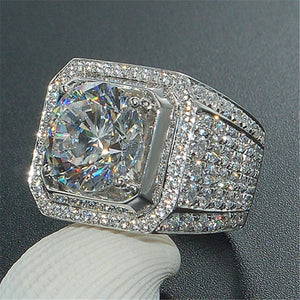 2ct Pava Set Full Cut Crystal 3ct Center Stone AAA Zirconia Sterling Silver Ring