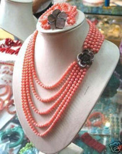 Pink Sell Coral NECKLACE BRACELET SET