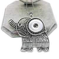 "Elephant Necklace Pendant Snap Fit ""12mm"" / ""18mm"" Buttons"