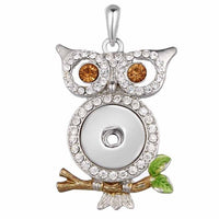 Crystal & Pearl Snap Pendants Necklace Fit 18mm Button