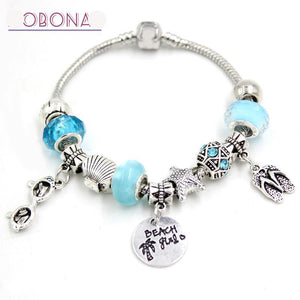 Sea life Ocean Beach European Bead Bracelet