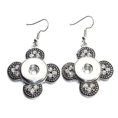 Earrings crystal Snap button18mm