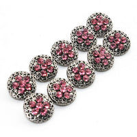Crystal Silver Button Fits 12mm Snaps Accessories 6 Colors 10pcs/lot