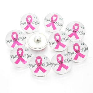 Pink Ribbon button Fit 18mm Snaps 10pcs/lot
