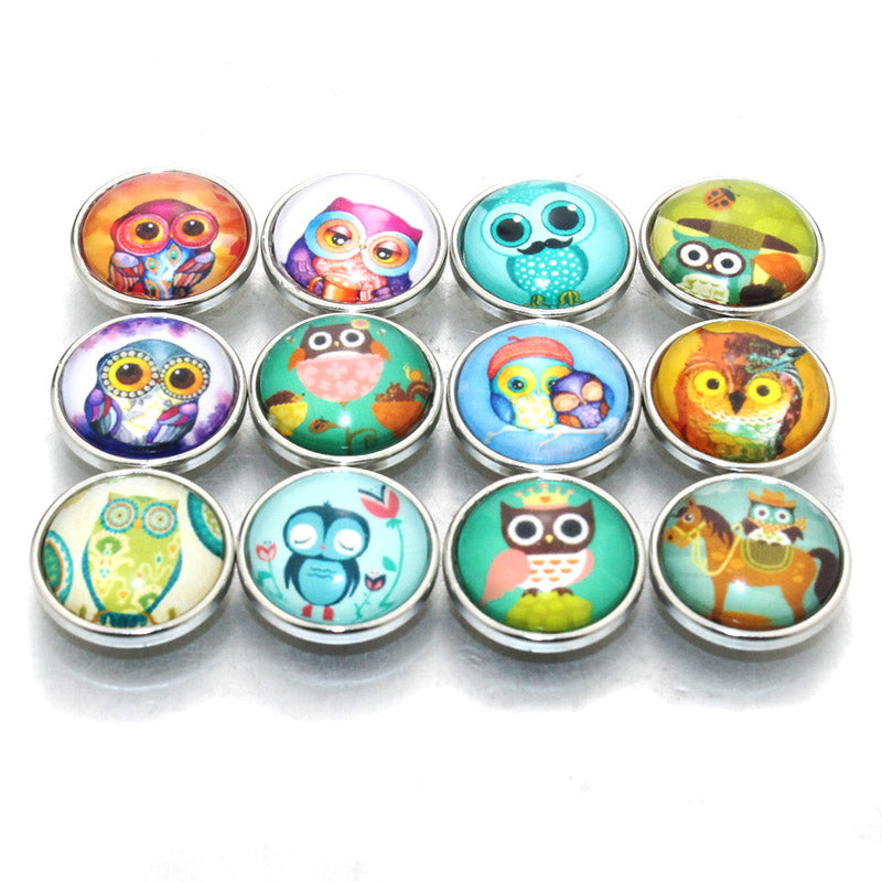 Owl Button Glass Fit 18mm Snaps 12 pcs/lot