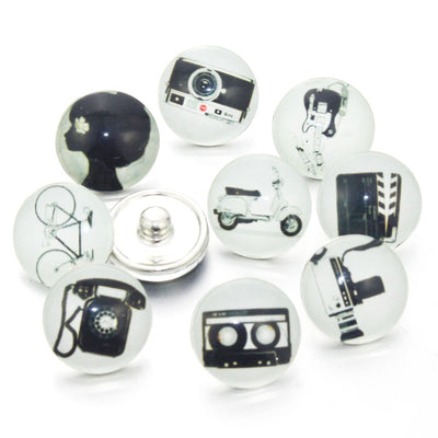 Mixed 1950s Nostalgia Buttons Fits18mm Snap Accessories 10PCS/lot
