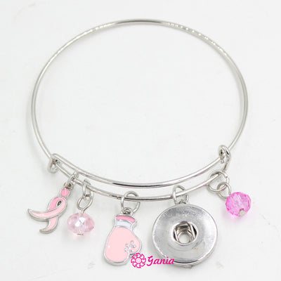 10PCS } Breast Cancer Awareness Pink Ribbon Bracelet Fit 18mm Buttons