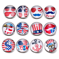 American Flag Button Fits 18mm Snap Accessories 12pcs/lot