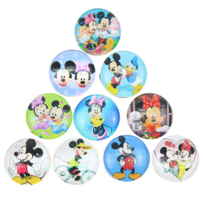 Snap on Glass Buttons Fit 18mm Disney Print 10pcs/lot Mix