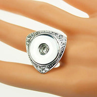 Adjustable Size Triangle Ring Fit 18MM Snap on Button