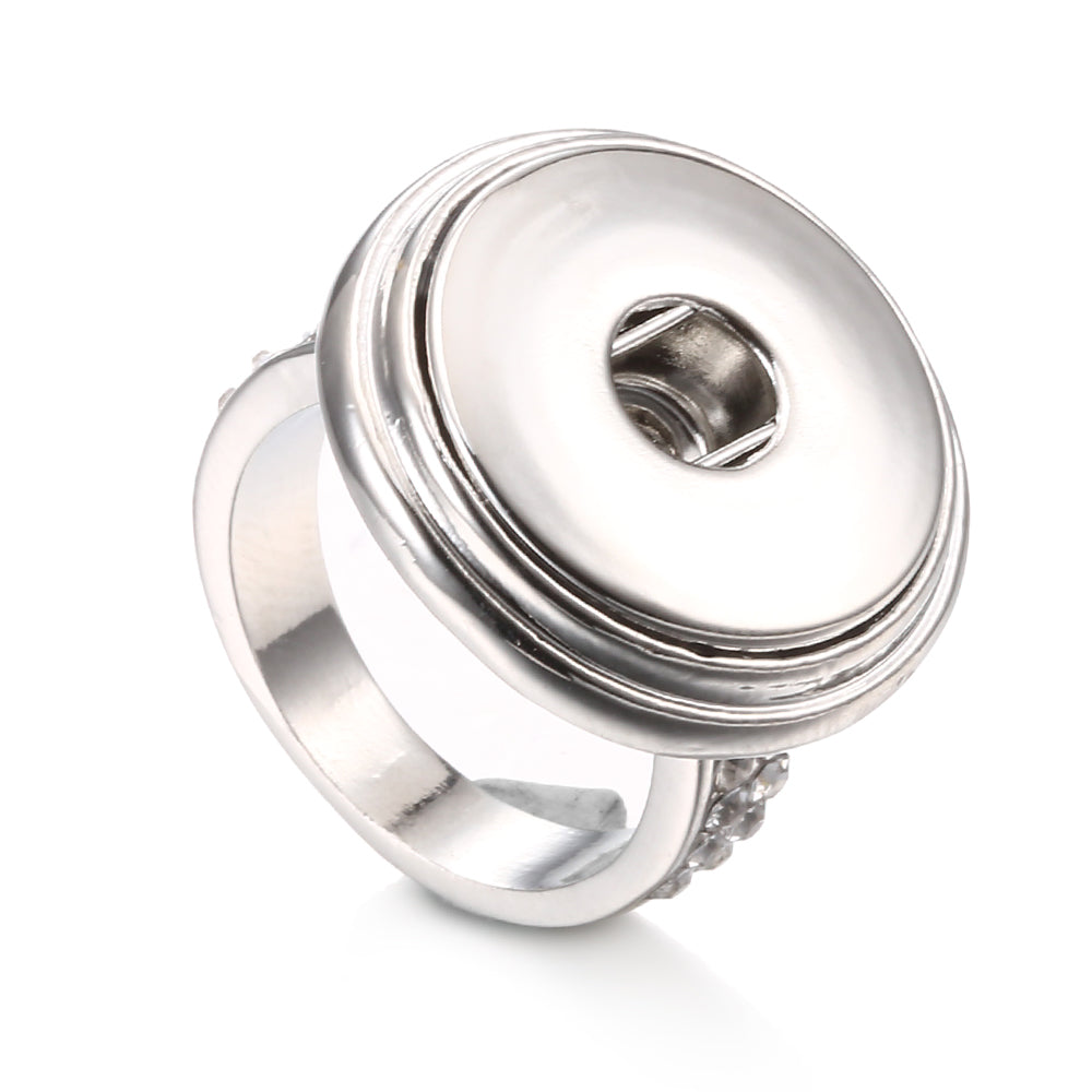 Metal Snap Ring W/ Crystal Fit 18/20mm Button