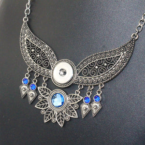 Blue crystal Pendants Necklaces Snap Fits 18-mm Button