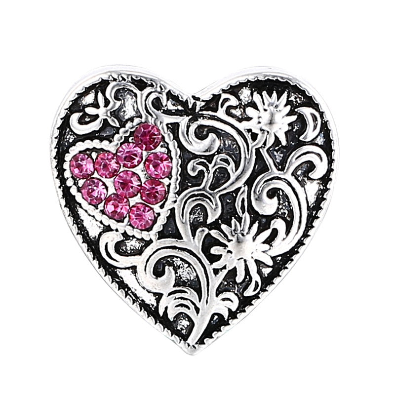 Bling Heart Button Fits 18MM Snap Accessory 10Pcs/lot