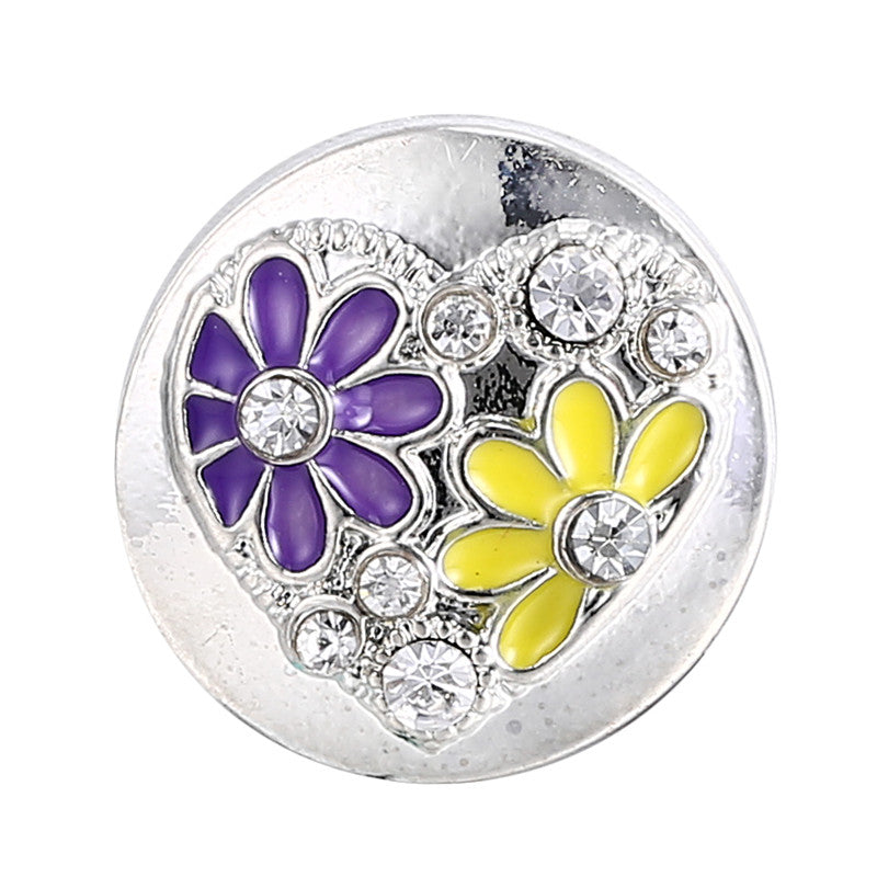 Bling Heart Flower Button Fits 18mm Snap Accessories 10pcs/Lot