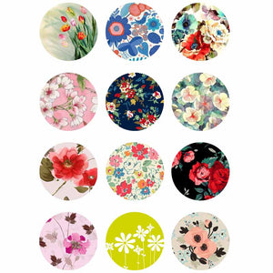 Flower mix glass Buttons fit 18mm Snap Accessories 12pcs/lot