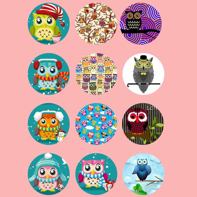 Cute Owl mix glass fit 18mm snap Accessories 12pcs/lot