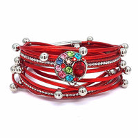 Rhinestone Leather Snap Bracelet fit 18mm Button