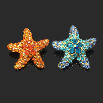 Crystal Starfish Metal Button Fits 18mm Snap Accessorie 10pc lot