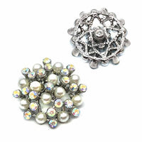 Big Crystal Flower Button Fits 18mm Snap Accessories 5pcs Set