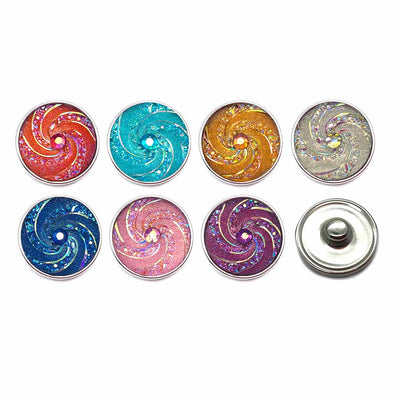 Swirl Design Glitter Button Fits 18mm Snap Accessories 10pcs / 7 Colors