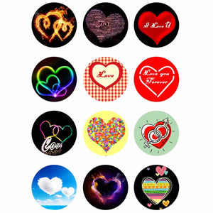 Fun Heart Mix Buttons Fits 12mm & 18mm Snap Accessories 12pcs/lot