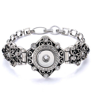 Vintage Style Filiagree Snap Bracelet Fits 18mm Button