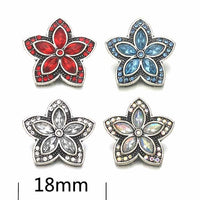 Star Flower Button Fits 18mm 20mm Snap Accessorie 10pcs 4 Colors