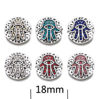 Hamsa Eye Button 18mm Snap Accessories 10pcs / 6 Colors