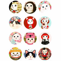 Funny Cat Mix  Button Fit 18mm Snap 12pcs/lot