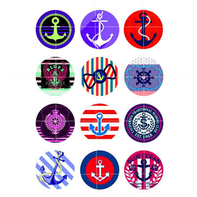 Anchor mix button fit 18mm snap accessories 12pcs/lot