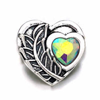Bling Heart Button Fits 18mm 20mm Snap 10pcs / 5 Colors