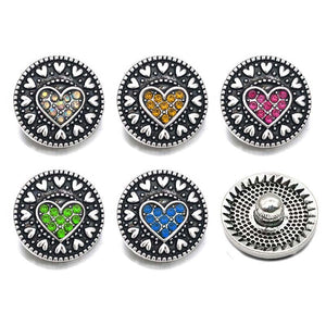 Heart button Fits 18mm Snap Accessorie 10pcsLot 6Colors