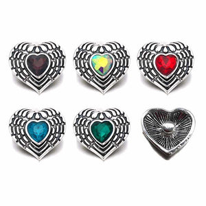 Heart Bling Button Fits 18mm 20mm Snap Accessories 10pcs/ 5 Colors