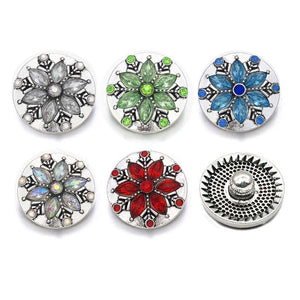 Crystal Snow Flake Button Fits 18mm 20mm Snap Accessories 10PCS/ 5 Colors