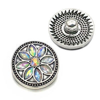 Crystal Flower Botton Fit 18mm 20mm Snap Accessories 10pcs